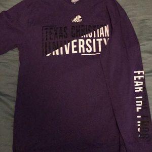 Purple TCU Fear The Frogs Shirt. Academy/Colosseum